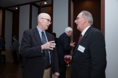 "Charles Stewart III and Jonathan Fanton converse during the reception for ""Populism and the Future of American Politics."""